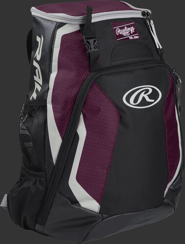 Right side of a black/maroon R500 Rawlings Players equipment backpack with white trim