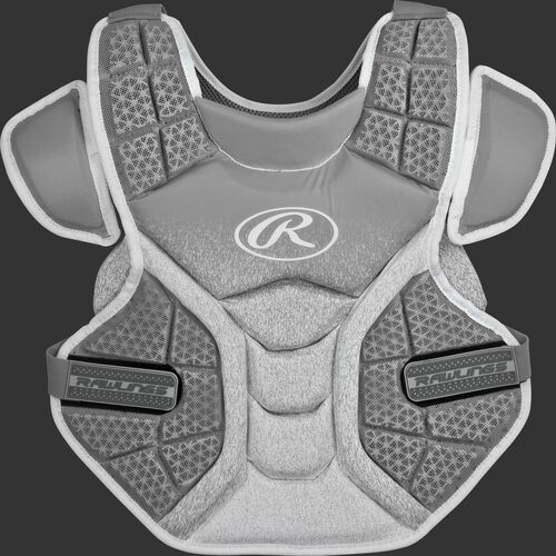 Front of a silver/white SBCPV Velo adult softball chest protector