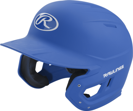 Left angle view of a Rawlings MACH Senior helmet with a one-tone matte royal shell