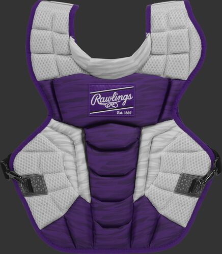 A purple/white CPV2N Rawlings Velo 2.0 adult chest protector with a striped pattern