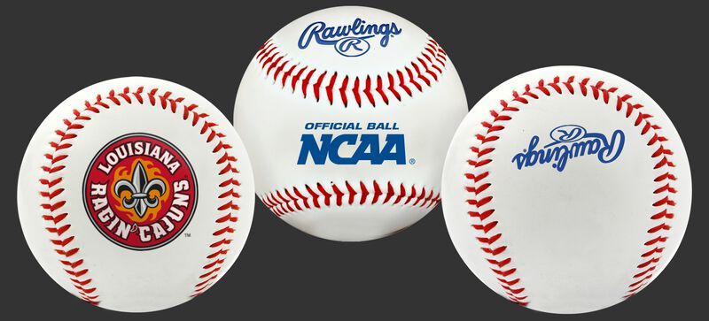 3 views of a NCAA Louisiana Ragin' Cajuns baseball with a team logo, NCAA logo and Rawlings logo