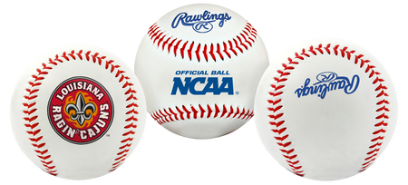 3 views of a NCAA Louisiana Ragin' Cajuns baseball with a team logo, NCAA logo and Rawlings logo