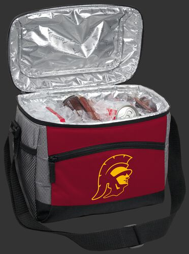 An open USC Trojans 12 can cooler filled with ice and drinks - SKU: 10123100111