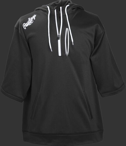 Front of Rawlings Black Adult Half Sleeve Hoodie with Zipper - SKU #RHTYO-DSW-88