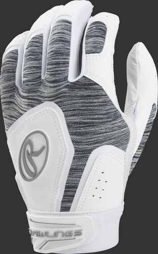 White FPWSBG women's Storm softball batting gloves with a heather grey back