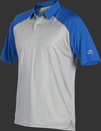 A gray Rawlings colorsync polo with royal sleeves - SKU: CSP-BG/R