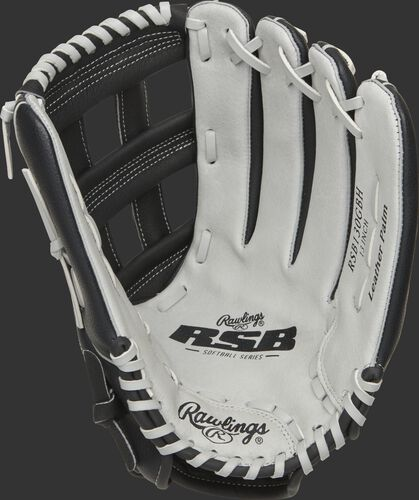 RSB130GBH Rawlings softball outfield glove with a grey palm and grey laces