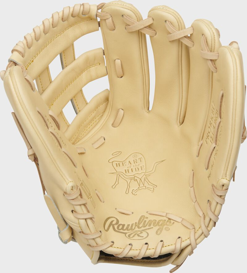 Camel palm of a HOH R2G Kris Bryant glove with a camel web and laces - SKU: PRORKB17
