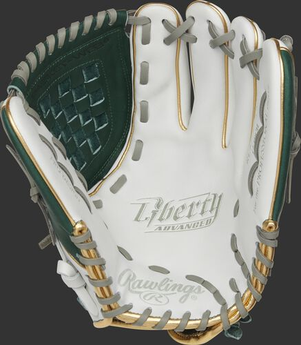 RLA120-3DG Rawlings Liberty Advanced Color Series glove with a white palm, dark green web and gray laces
