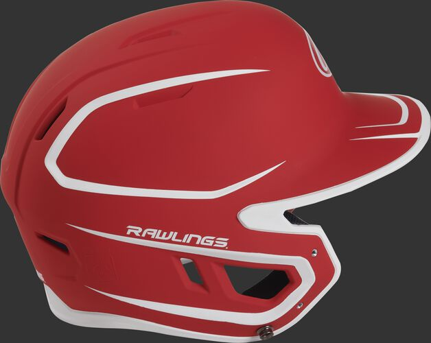 Right side of a two-tone matte scarlet/white MACH helmet