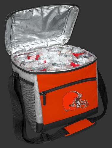 An open Cleveland Browns 24 can cooler filled with ice and drinks - SKU: 10211064111
