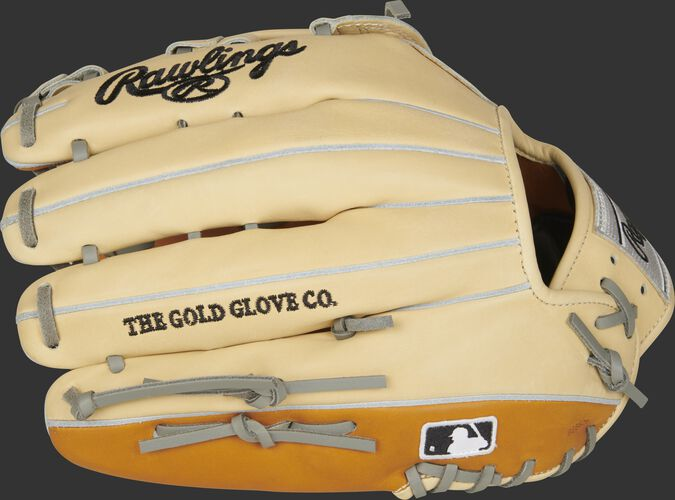 Camel fingers of a Rawlings HOH 12.75-inch outfield glove with the MLB logo on the pinkie - SKU: PRO3039-6TC