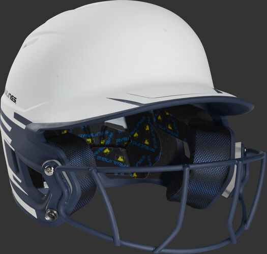 Front right of a Rawlings Mach fastpitch batting helmet with a navy mask - SKU: MSB13S-W/N