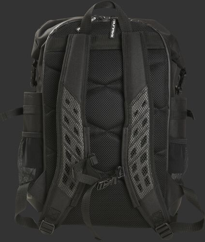 Back of a black Rawlings CEO coach's backpack with black padding and shoulder straps - SKU: CEOBP-B