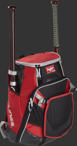 Front right of a scarlet VELOBK Rawlings Velo bag with two bats