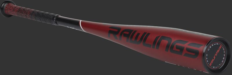 3/4 view of a red US9511 Rawlings 5150 -11 bat with a black end cap