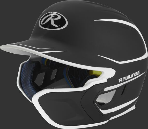 Left angle view of a matte black/white MACHEXTR Mach Junior helmet with Mach EXT right hand batter face guard extension