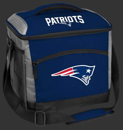 A blue New England Patriots 24 can soft sided cooler with screen printed logos - SKU: 10211076111
