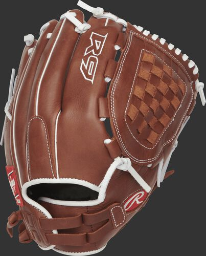 Back view of a R9SB125FS-3DB R9 Series 12.5-inch fingershift fastpitch glove with a brown back and Pull-Strap design