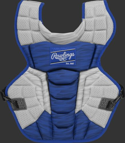 CPV2NI royal/white Rawlings Youth Velo 2.0 chest protector with Arc Reactor Core