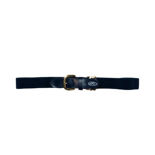 Front of Rawlings Navy Youth Adjustable Elastic Baseball Belt- SKU #BLTY-NVY