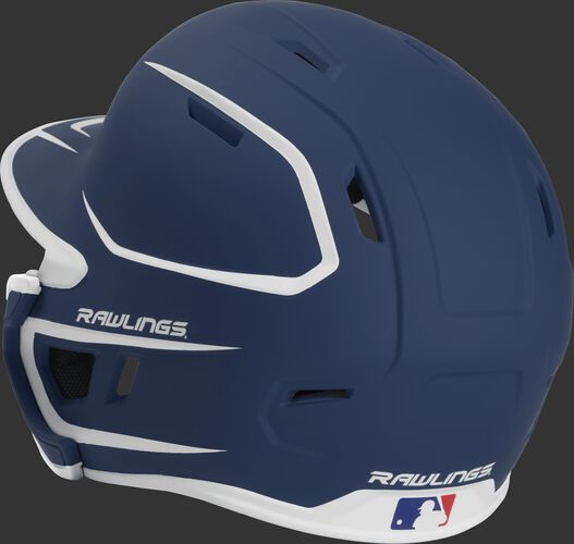 Back left view of a matte navy/white MACHEXTR MACH series two-tone batting helmet with air vents
