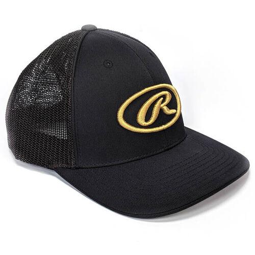 Front of Rawlings Black Oval-R Logo Mesh Hat - SKU #RWGHC