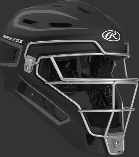 Front right of a black CHV27J Rawlings Velo 2.0 catcher's helmet