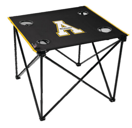 Rawlings Black NCAA Appalachian State Mountaineers Deluxe Tailgate Table With Four Cup Holders and Team Logo Printed In The Middle SKU #00713195111