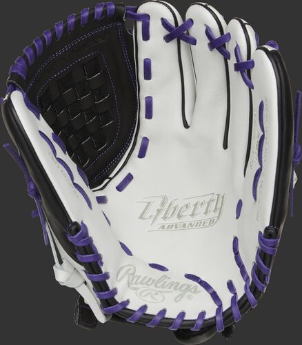 RLA120-3PU Rawlings Liberty Advanced Color Series glove with a white palm, black web and purple laces