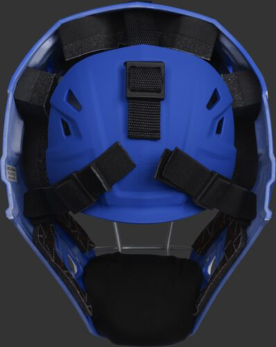 Adjustable back plate of a royal/scarlet CHV27J Velo 2.0 hockey style catcher's mask