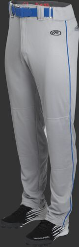 Front of Rawlings Blue Gray/Royal Adult Launch Piped Semi-Relaxed Baseball Pant - SKU #LNCHSRP-BG/B-88