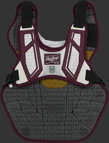 Back harness of a maroon/white CPV2N intermediate Velo 2.0 chest protector with Dynamic Fit System 2.0