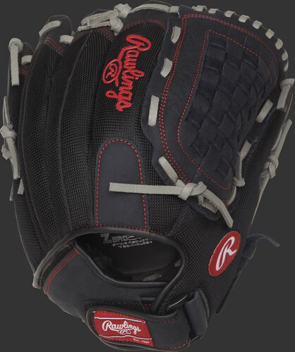 R140BGS 14-inch Renegade Series recreational softball glove with a black mesh back and Velcro wrist strap