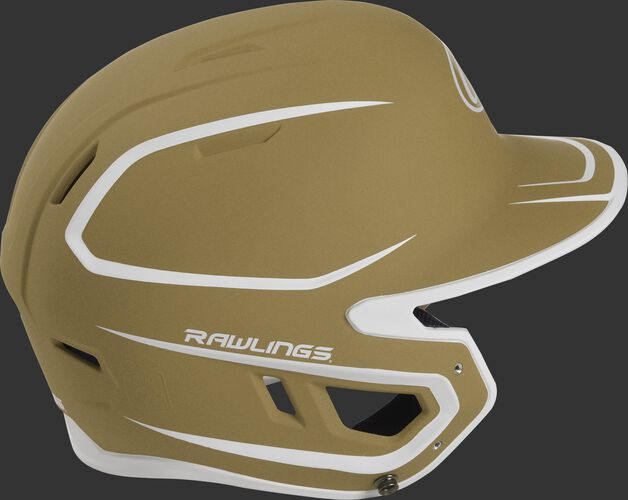 Right side of a two-tone matte vegas gold/white MACH helmet