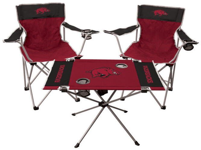 Front of Rawlings Cardinal and Black NCAA Arkansas Razorbacks 3-Piece Tailgate Kit With Two Kickoff Chairs, An Endzone Table, And A Transport Bag With Team Logo SKU #00993069511