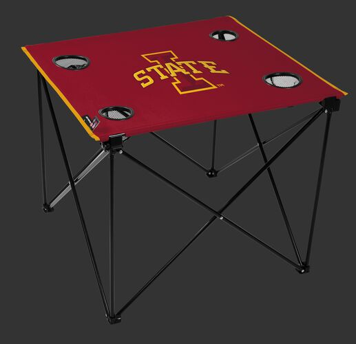 A red NCAA Iowa State Cyclones deluxe tailgate table with four cup holders and team logo printed in the middle SKU #00713031111