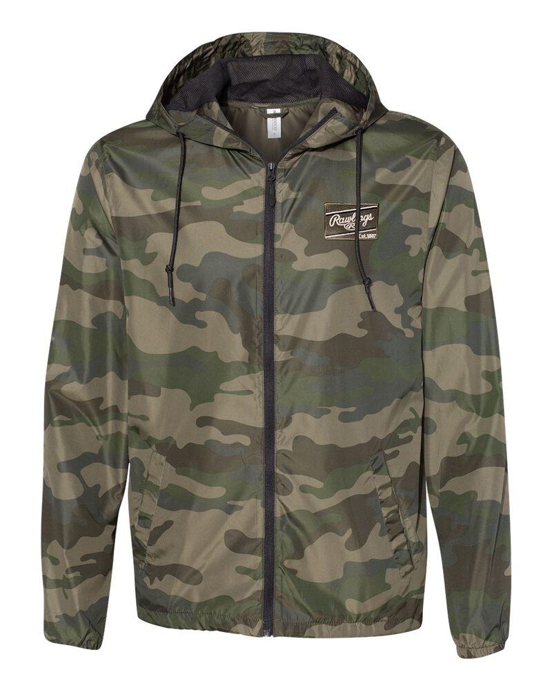 A green camo Rawlings lightweight windbreaker jacket - SKU: RSGCJ-CAMO