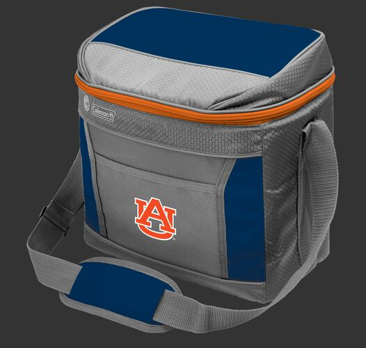 A NCAA Auburn Tigers 16 can cooler featuring team colors and a team logo printed on the front