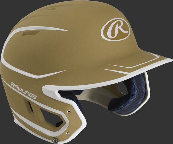 Right angle view of a matte MACH Senior batting helmet with a vegas gold/white shell