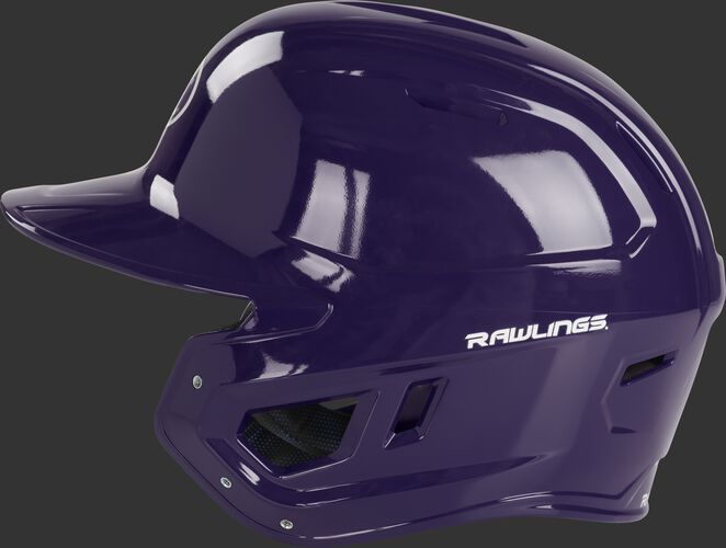 Left side of a purple MCH01A high school Mach helmet