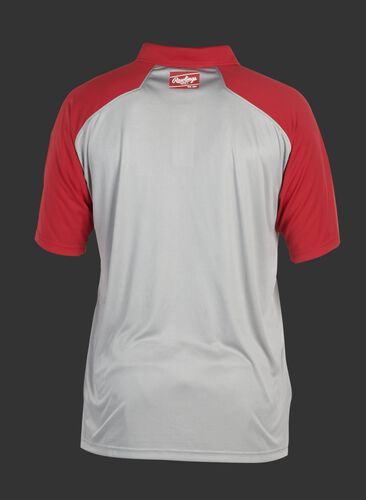 Back of a gray ColorSync polo with scarlet sleeves and red Rawlings patch on the back neckline - SKU: CSP-BG/S