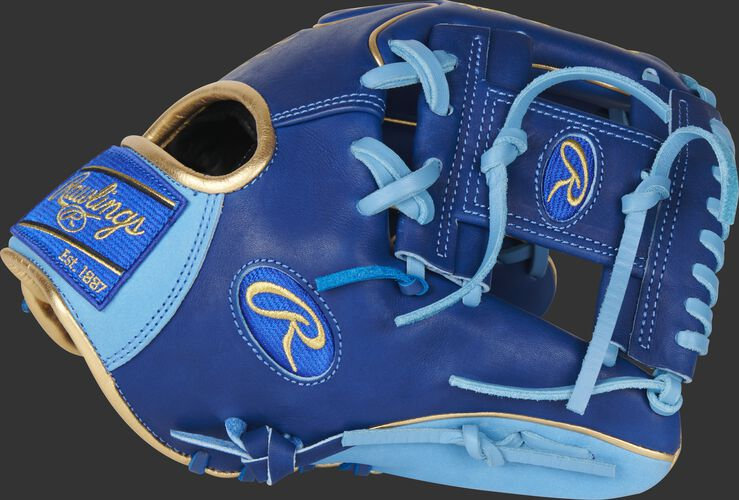 Thumb of a royal/columbia blue Exclusive Heart of the Hide I-web infield glove with a royal web - SKU: PRO204W-2R