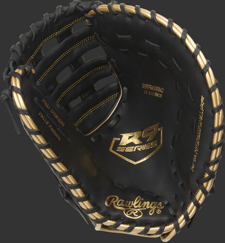 Black palm of a Rawlings R9 series first base mitt with a gold palm stamp and black laces - SKU: R9FM18BG