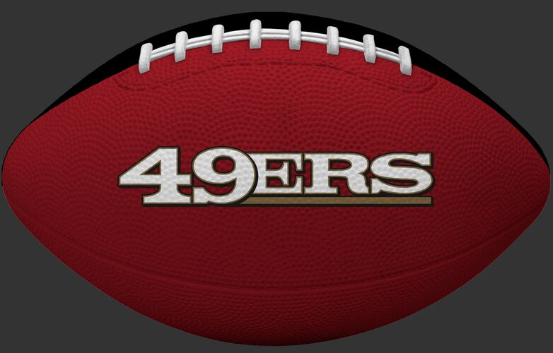 Red side of a San Francisco 49ers Gridiron tailgate football with team name SKU #09501084122
