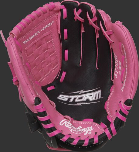 Black palm of a Rawlings Storm softball glove with pink thumb and pinky - SKU: ACAST10BP