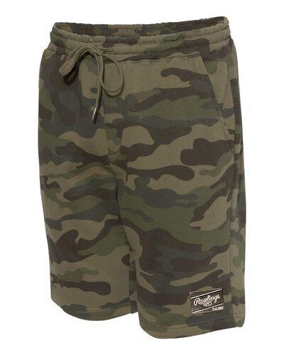 Side view of a green camo pair of Rawlings men's fleece shorts - SKU: RSGFS-CAMO