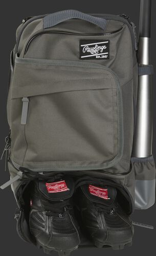 Shoe compartment in the bottom of a gray R701 baseball backpack