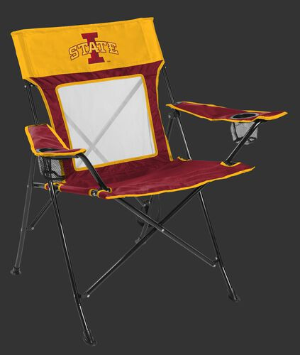 Front of Rawlings Yellow and Cardinal NCAA Iowa State Cyclones Game Changer Chair With Team Logo SKU #00643031111