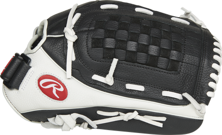 Thumb of a white/black RSO130BW Shut Out 13-inch outfield/pitcher's glove with a black basket web.